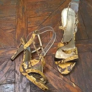 Fioni Strappy Heels Yellow and Brown